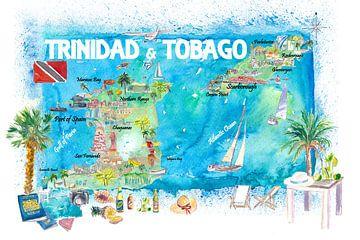 Trinidad & Tobago Antillen Illustrierte Reisekarte mit Straßen und Highlights von Markus Bleichner