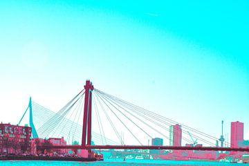 Rotterdam - Willemsbrug en omgeving - in rood/groen tinten van Ineke Duijzer