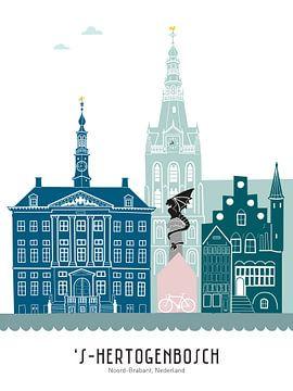 Skyline illustratie stad Den Bosch in kleur van Mevrouw Emmer