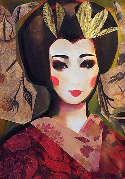 Karminroter Kimono von Helia Tayebi Art