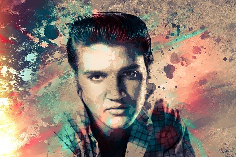 Elvis Presley Abstraktes Pop-Art-Portrait in Vintage-Farben von Art By Dominic