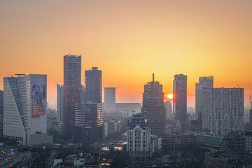 Sonnenuntergang rotterdam Sonnenuntergang Stadt Sonne Skyline Farbe von Michael van Dam