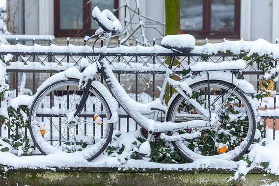 Verschneites parkendes Fahrrad an einem Gartenzaun, Bremen, Deutschland, Europa