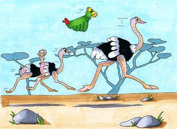 Tekening van rennende struisvogels van Ivonne Wierink