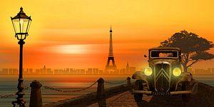 Paris nostalgie met klassieke auto van
