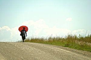 Frau mit Regenschirm von Minca de Jong