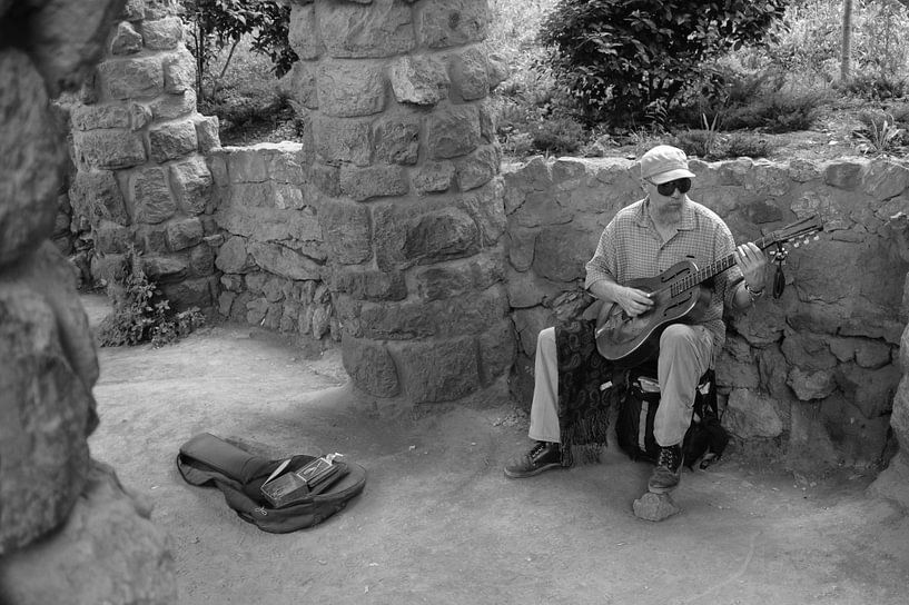 Gitaarspeler in Spanje van Rob van Dam