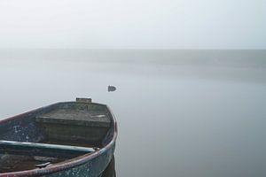 roeiboot in de mist van