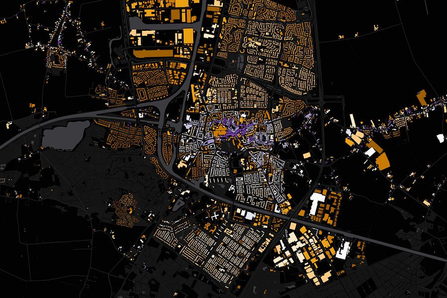 Kaart van Oosterhout abstract van Stef Verdonk