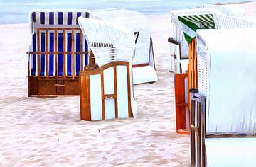 Beach chairs on the Baltic Sea van