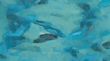 Abstrakt - Schwimmen mit den Fischen von Schildersatelier van der Ven