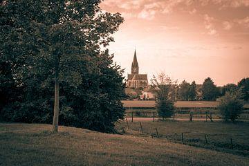 Die Kirche St. Michael in Thorn in Sepia-Farben von JM de Jong-Jansen
