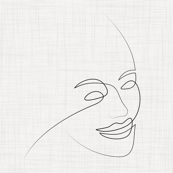 Anmutige Linienzeichnung des weiblichen Gesichts von Color Square