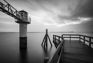 Lichtbaken Oostmahorn, Lauwersmeer, Friesland, Nederland van Sjaak den Breeje