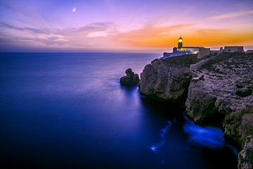 Leuchtturm Sonnenuntergang Algarve von Benjamin Obst
