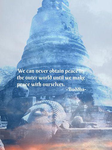 Buddha hoofd & Quote von Misja Vermeulen