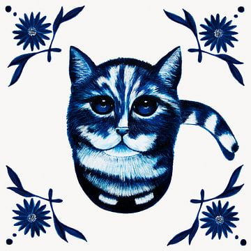 Kat op een Delftsblauw Tegeltje van e-STER design