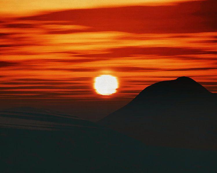 Zonsondergang in de bergen van Jan Keteleer