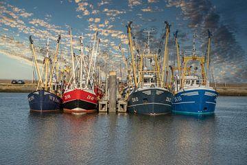 Vissersschepen in de haven van Lauwersoog van Gert Hilbink