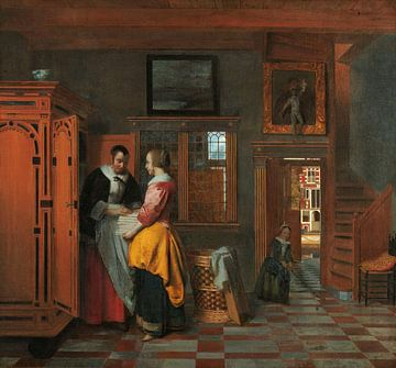 Interieur mit Frauen an einem Wäscheschrank, Pieter de Hooch