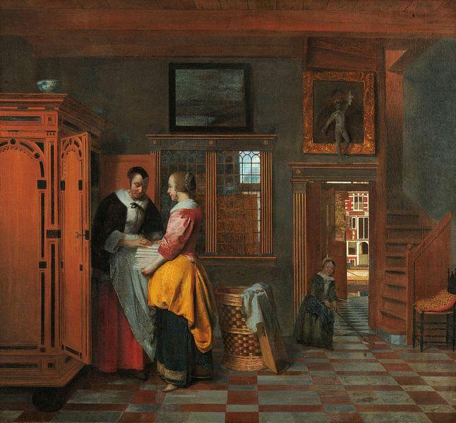 Binnenhuis met vrouwen bij een linnenkast, Pieter de Hooch
