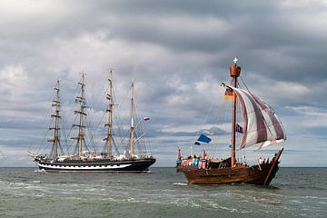 Sailing ships on the Baltic Sea van Rico Ködder
