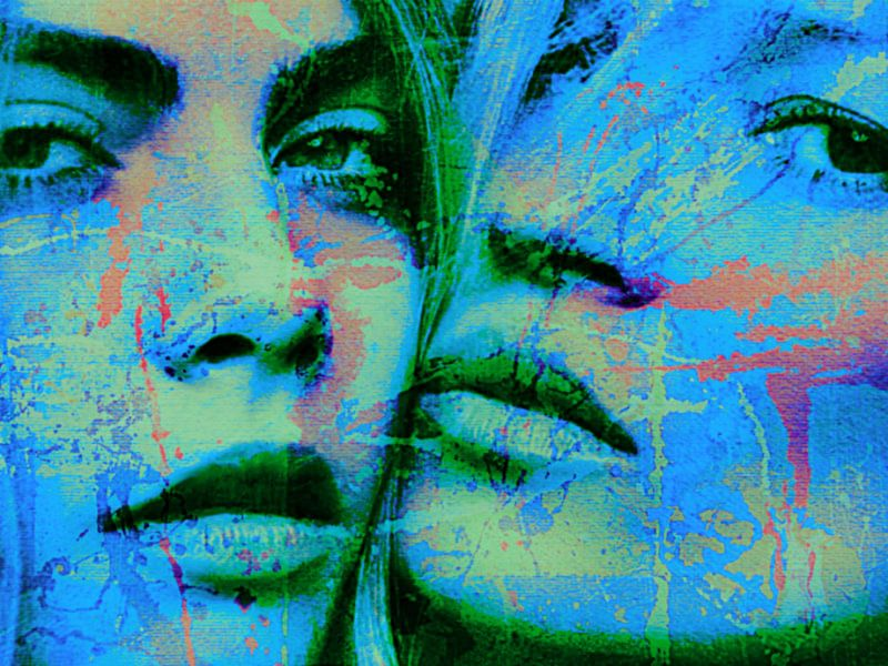 Cara Delevingne vs Kate Moss Splash Pop Art PUR 1 van Felix von Altersheim