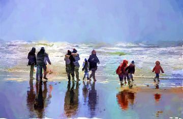 A walk on the beach sur Frans Van der Kuil