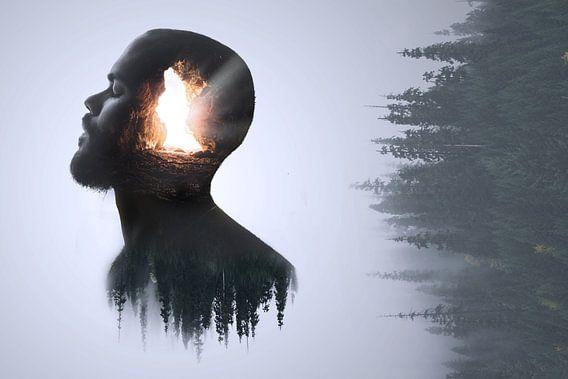 Double exposure, portret van een man