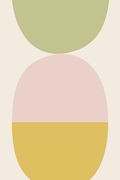 Balans 3 - grafische illustratie in zachte kleuren van Kim Karol / Ohkimiko