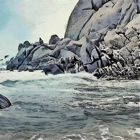 Kust Landschap - Branding en Rotsen - Sardinië - Capo Testa - Schilderij van Schildersatelier van der Ven