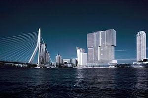 Rotterdam skyline in blauw