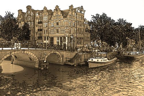 Pentekening Brouwersgracht Prinsengracht Jordaan Amsterdam Nederland Goud Tekening Lijntekening Sepi