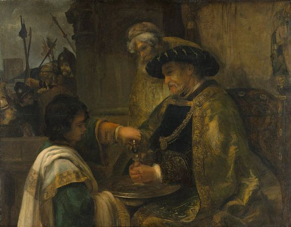 Pilatus zijn handen te wassen, de stijl van Rembrandt van Rembrandt van Rijn