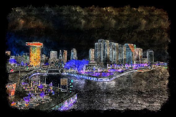 Uitzicht op de Boompjeskade in Rotterdam by night (aquarel)