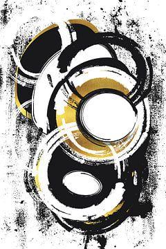 Abstracte Schilderij Nr. 1 goud van Melanie Viola
