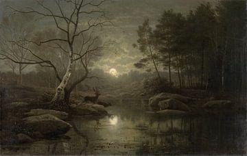Paysage forestier au clair de lune, Georg Eduard Otto Hall