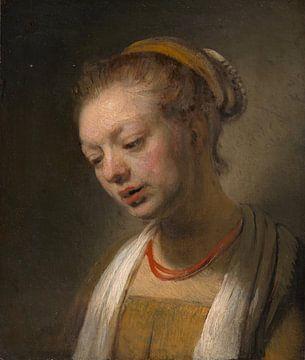 Junge Frau mit einem roten Halskette, Stil von Rembrandt
