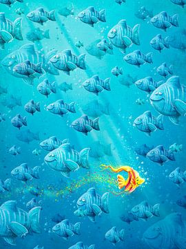 Gelber Fisch im Meer von Stefan Lohr