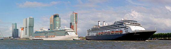 panorama 2 cruiseschepen te Rotterdam