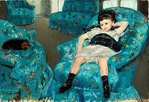 Meisje in een blauwe leunstoel, Mary Cassatt