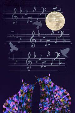 Cat Love - Moonlight Sonata van Christine Nöhmeier