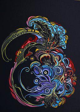 Oosterse fractal kleurexplosie op zwart  van E11en  den Hollander