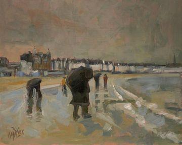 Warten am Strand von Weymouth von Nop Briex