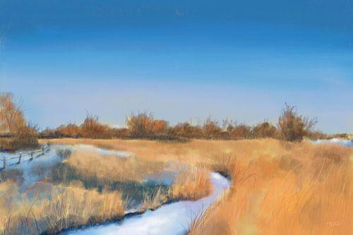 Winterlandschap met een blauwe hemel
