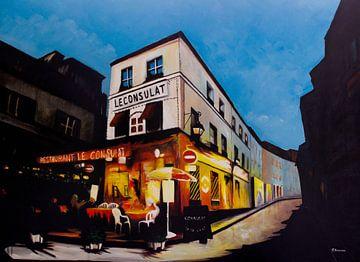 Restaurant Le Consulat in Parijs | Schilderij van - Wereldkaarten.shop -