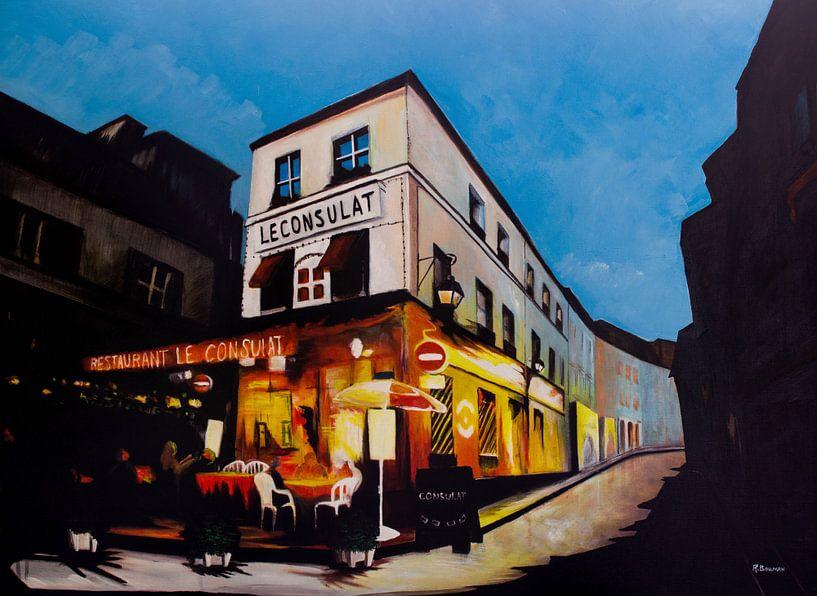 Restaurant Le Consulat in Parijs   Schilderij van WatercolorWall