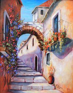 Mediterrane beelden - Alley geschilderd van