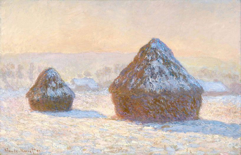 Grainstack am Morgen Schnee-Effekt, Claude Monet von The Masters