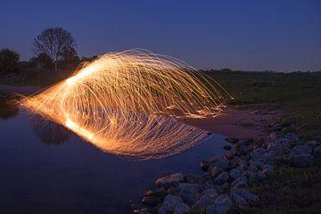 Staalwol vliegend over water von Robert Wiggers